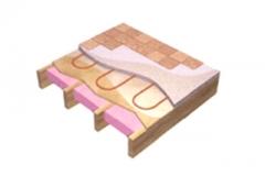 Sur le dessus d'un contreplaqué en bois, le tuyau peut  être recouvert d'une mince couche de béton léger ou disposé entre le sous-plancher et le revêtement de sol.